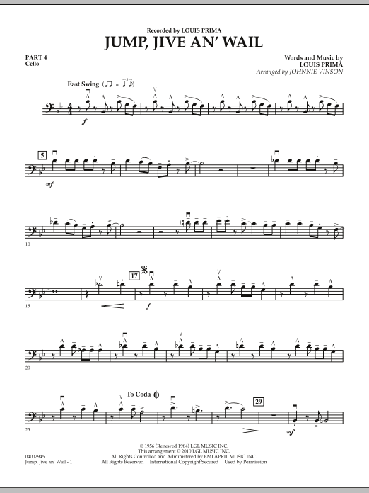 Jump, Jive An' Wail - Pt.4 - Cello (Concert Band: Flex-Band)
