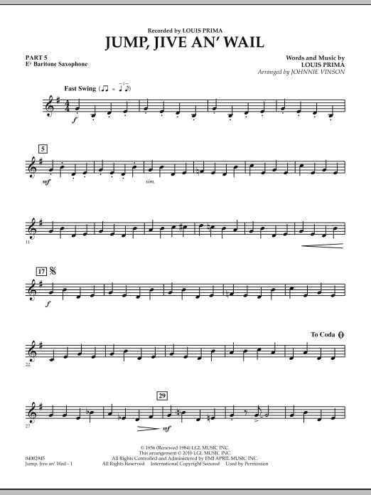 Jump, Jive An' Wail - Pt.5 - Eb Baritone Saxophone (Concert Band: Flex-Band)