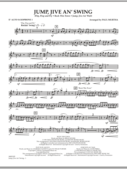 Jump, Jive An' Swing - Eb Alto Saxophone 1 (Concert Band)