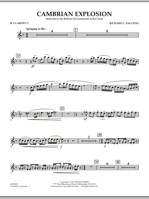 Cambrian Explosion - Bb Clarinet 2 (Concert Band)