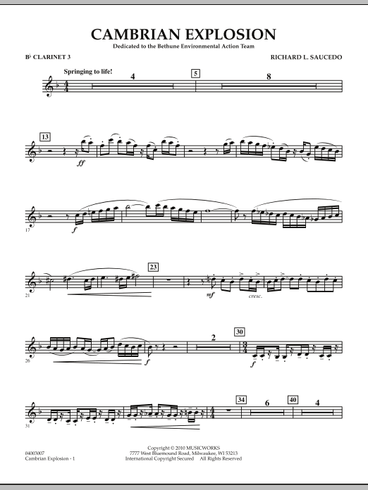 Cambrian Explosion - Bb Clarinet 3 (Concert Band)
