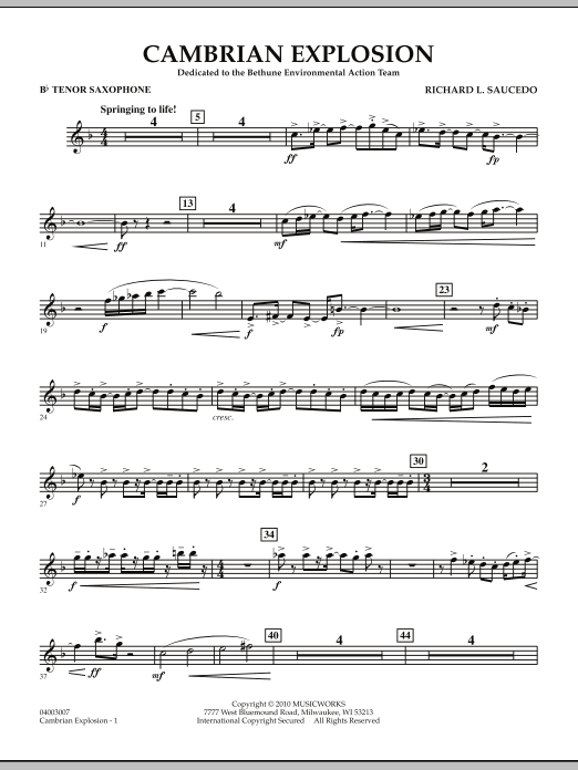 Cambrian Explosion - Bb Tenor Saxophone (Concert Band)