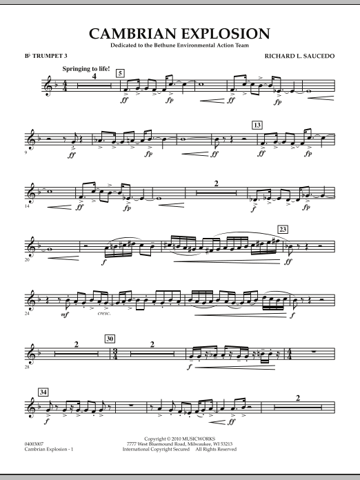 Cambrian Explosion - Bb Trumpet 3 (Concert Band)