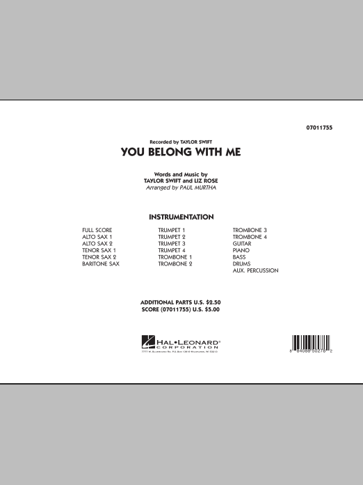 You Belong With Me (COMPLETE) sheet music for jazz band by Taylor Swift, Liz Rose and Paul Murtha. Score Image Preview.