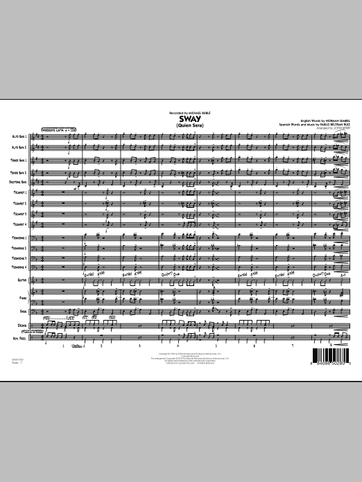 Sway (Quien Sera) (COMPLETE) sheet music for jazz band by John Berry, Norman Gimbel, Pablo Beltran Ruiz, Dean Martin and Michael Buble. Score Image Preview.