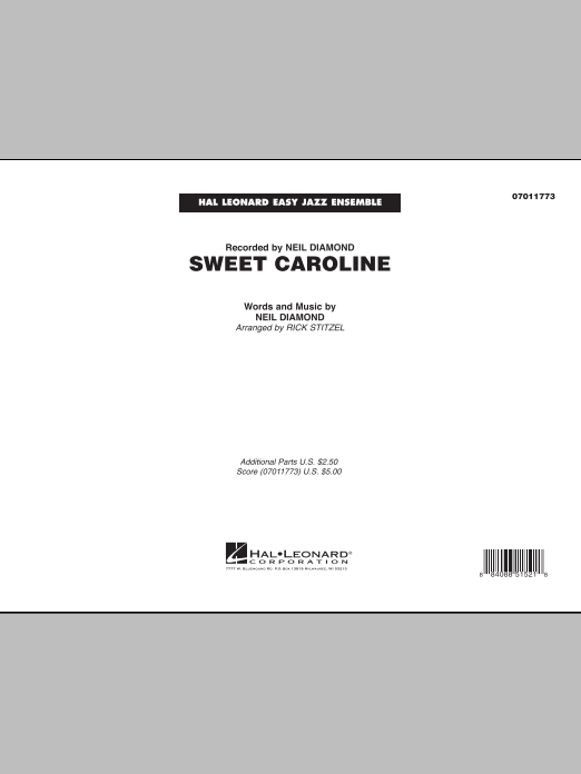 Sweet Caroline (COMPLETE) sheet music for jazz band by Neil Diamond and Rick Stitzel. Score Image Preview.