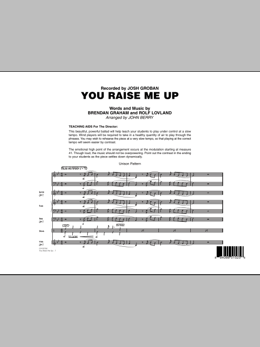 You Raise Me Up (COMPLETE) sheet music for jazz band by Brendan Graham, Rolf Lovland, John Berry, Josh Groban and Secret Garden. Score Image Preview.