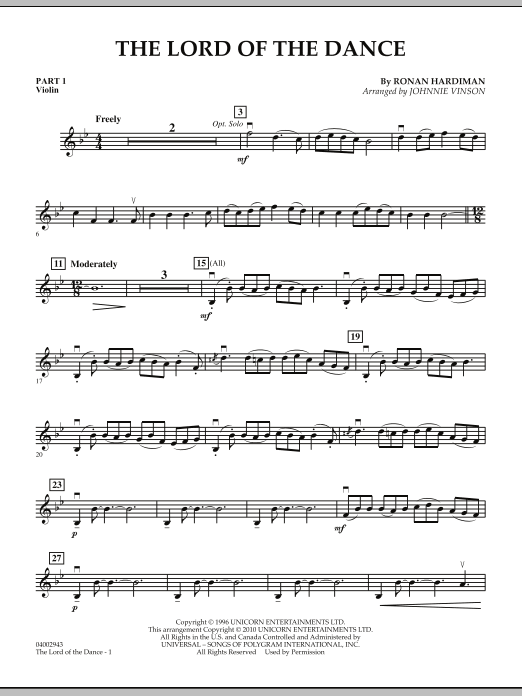 The Lord Of The Dance - Pt.1 - Violin Sheet Music