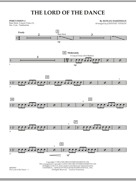 The Lord Of The Dance - Percussion 2 (Concert Band: Flex-Band)