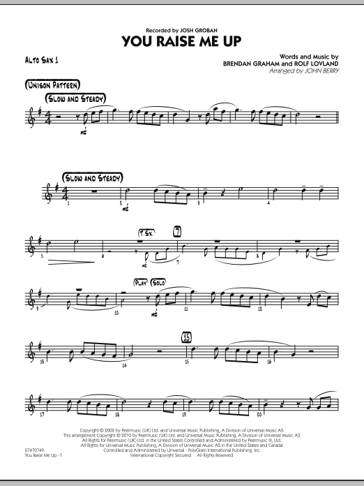 You Raise Me Up - Alto Sax 1 Sheet Music