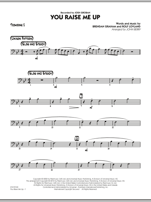 You Raise Me Up - Trombone 2 (Jazz Ensemble)