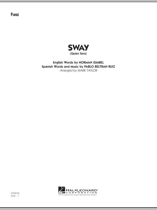Sway (Quien Sera) - Piano (Jazz Ensemble)