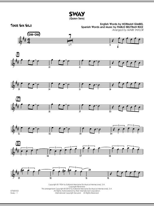 Sway (Quien Sera) - Tenor Sax Solo (Jazz Ensemble)