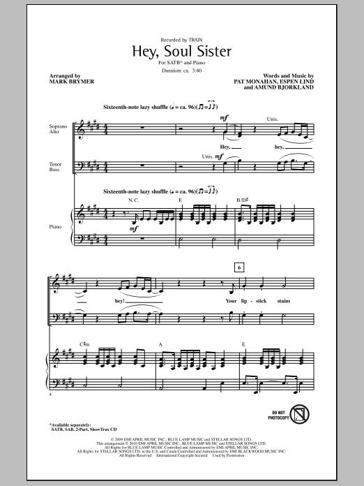 Hey, Soul Sister (SATB Choir)