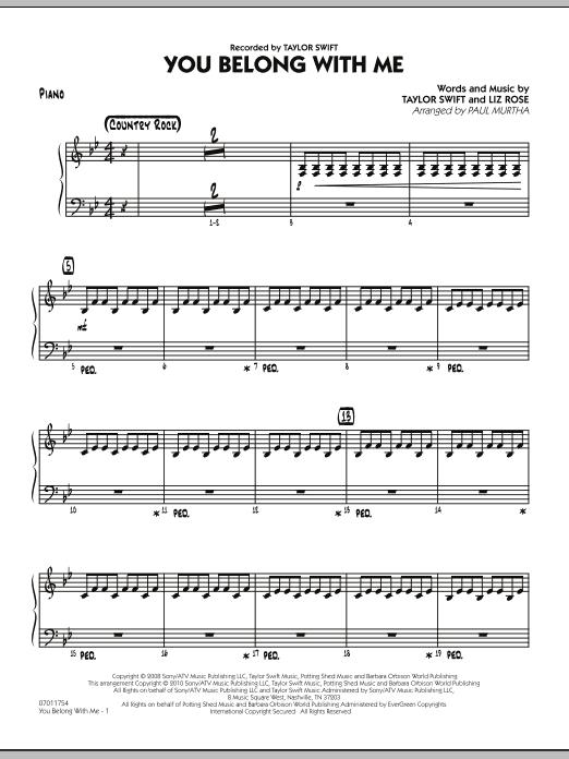 You Belong With Me - Piano (Jazz Ensemble)