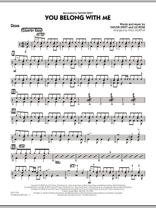 You Belong With Me - Drums Sheet Music