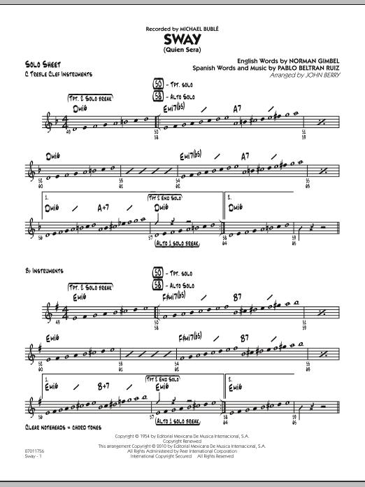 Sway (Quien Sera) - Solo Sheet (Jazz Ensemble)