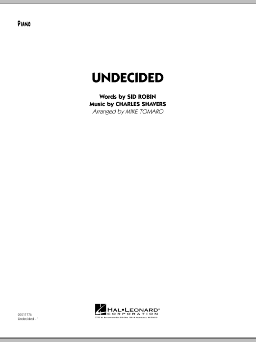 Undecided - Piano (Jazz Ensemble)