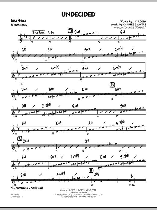 Undecided - Bb Solo Sheet (Jazz Ensemble)