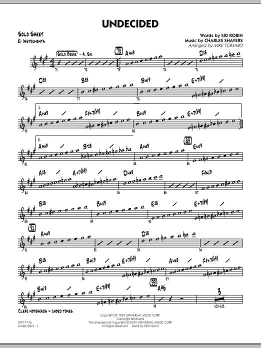 Undecided - Eb Solo Sheet (Jazz Ensemble)