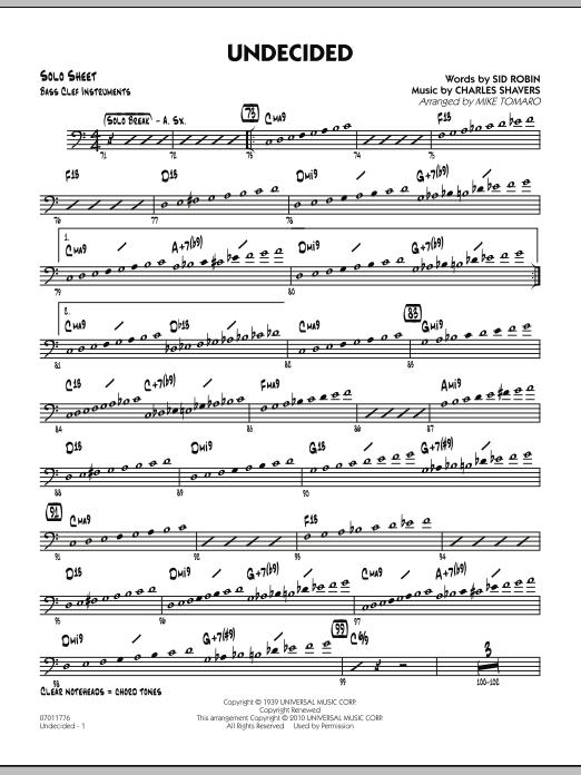 Undecided - Bass Clef Solo Sheet (Jazz Ensemble)