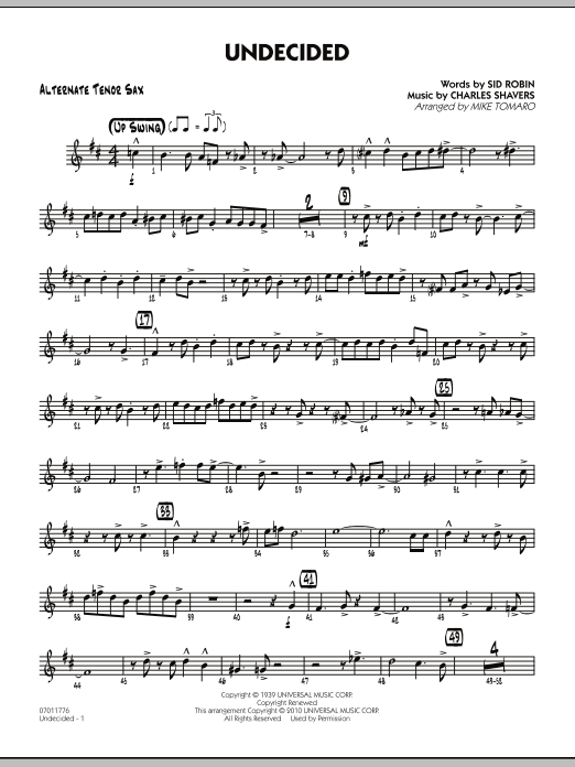 Undecided - Alternate Tenor Sax (Jazz Ensemble)