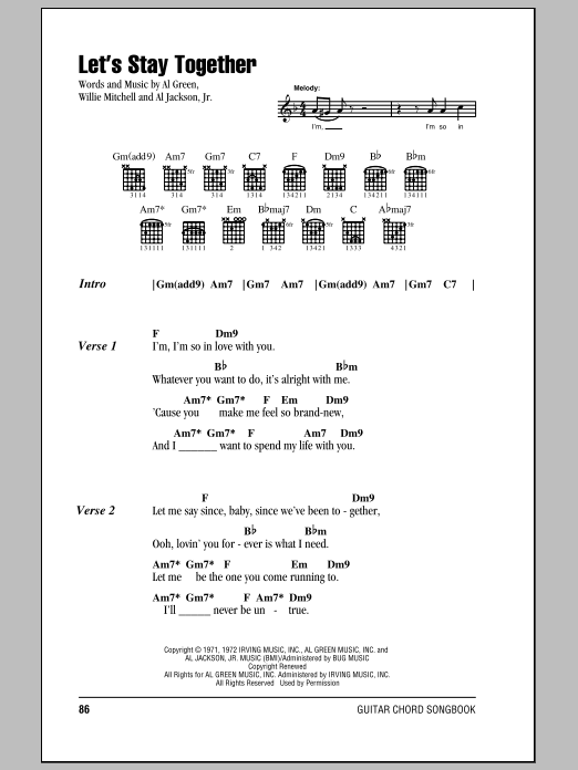 Let's Stay Together Sheet Music