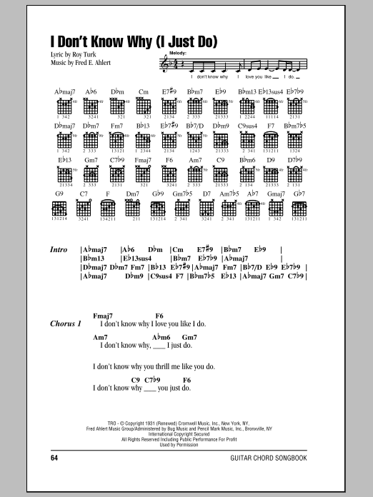 I Don't Know Why (I Just Do) Sheet Music