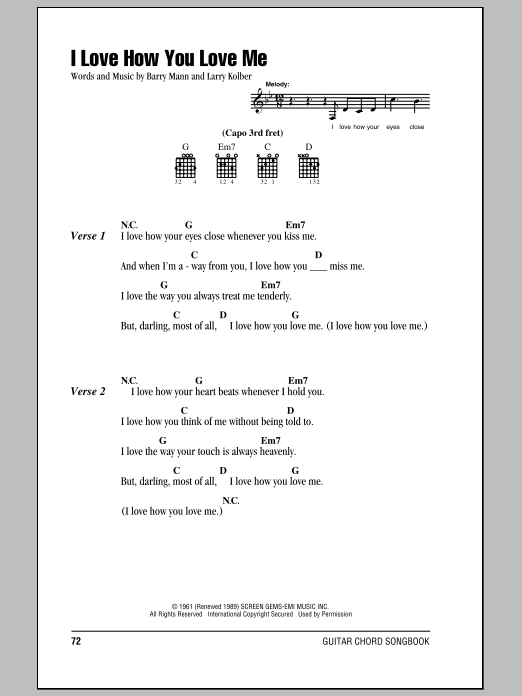 I Love How You Love Me Sheet Music