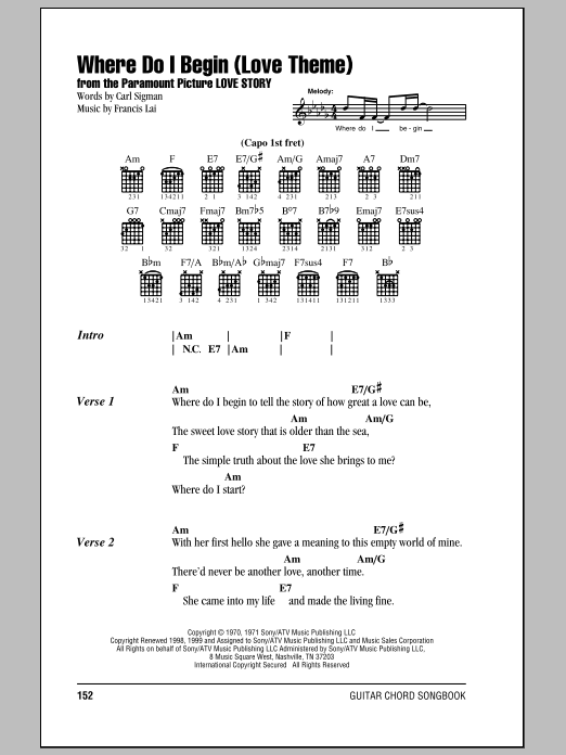 Where Do I Begin (Love Theme) Sheet Music