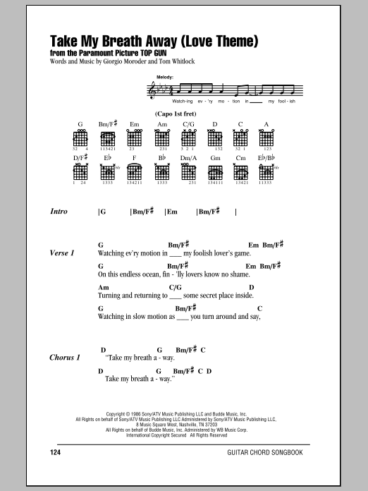 Take My Breath Away (Love Theme) Sheet Music
