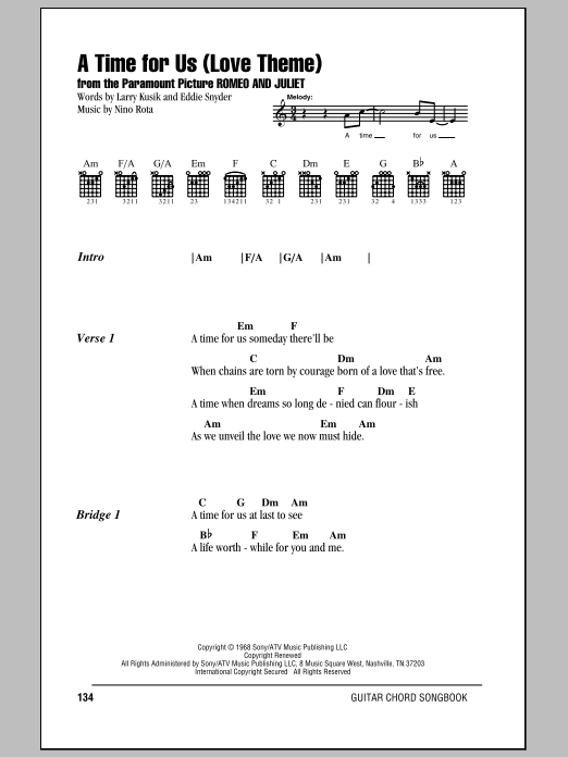 A Time For Us (Love Theme) Sheet Music