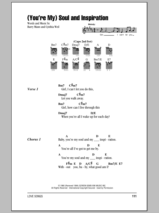 (You're My) Soul And Inspiration Sheet Music