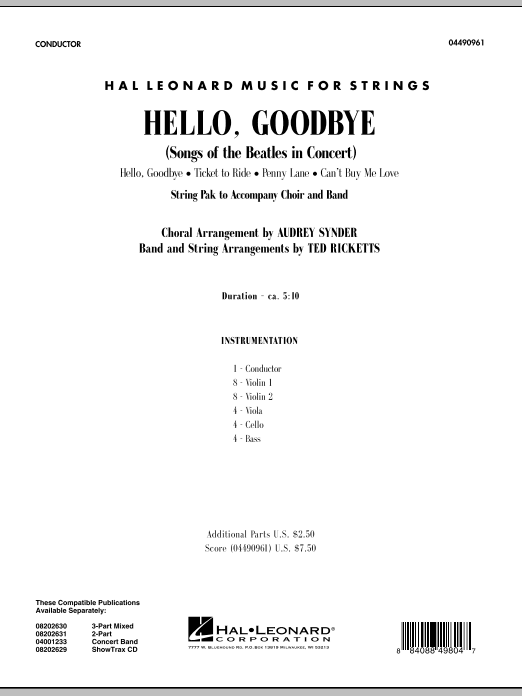 Hello, Goodbye (Songs Of The Beatles In Concert) (COMPLETE) sheet music for orchestra by Ted Ricketts, Audrey Snyder, John Lennon, Paul McCartney and The Beatles. Score Image Preview.