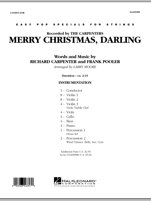 Merry Christmas, Darling (COMPLETE) sheet music for orchestra by Larry Moore, Carpenters, Frank Pooler and Richard Carpenter. Score Image Preview.