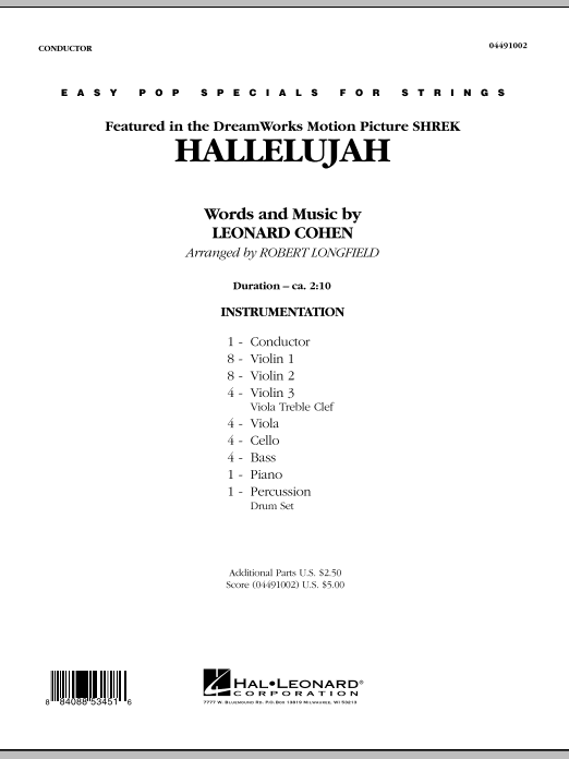 Hallelujah (COMPLETE) sheet music for orchestra by Robert Longfield and Leonard Cohen. Score Image Preview.