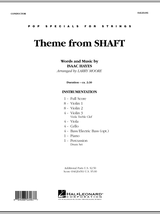 Theme from Shaft (COMPLETE) sheet music for orchestra by Larry Moore and Isaac Hayes. Score Image Preview.