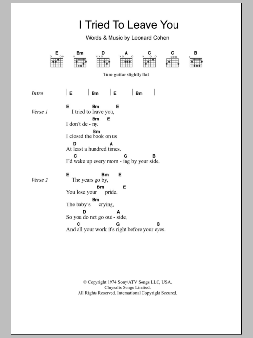I Tried To Leave You by Leonard Cohen - Guitar Chords/Lyrics ...