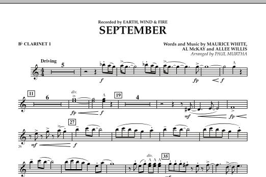 September (arr. Paul Murtha) - Bb Clarinet 1 (Concert Band)