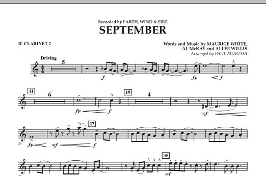 September (arr. Paul Murtha) - Bb Clarinet 2 (Concert Band)