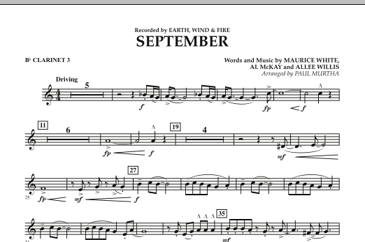 September (arr. Paul Murtha) - Bb Clarinet 3 (Concert Band)