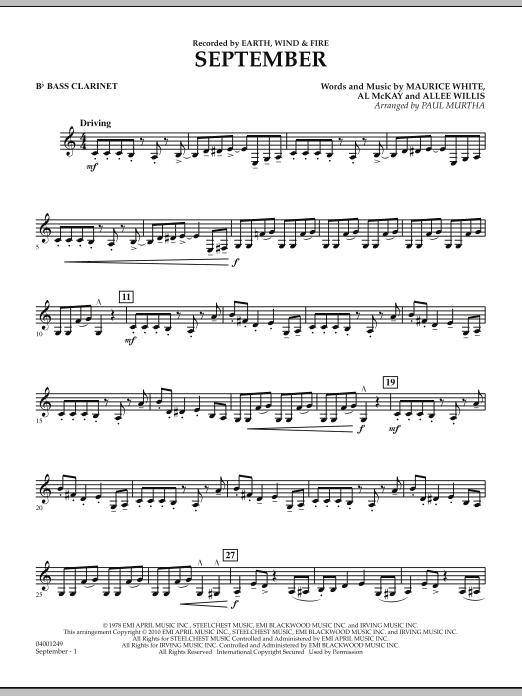 September (arr. Paul Murtha) - Bb Bass Clarinet (Concert Band)