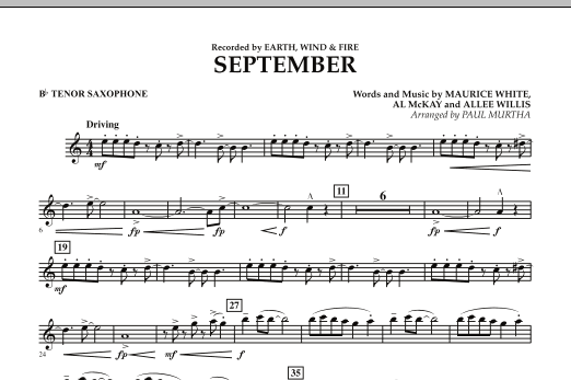 September (arr. Paul Murtha) - Bb Tenor Saxophone (Concert Band)