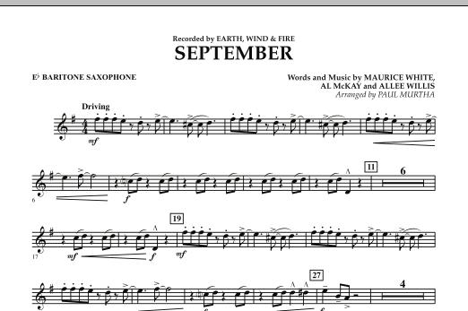 September (arr. Paul Murtha) - Eb Baritone Saxophone (Concert Band)