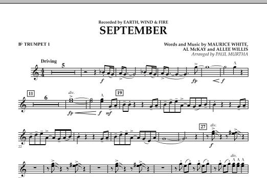 September (arr. Paul Murtha) - Bb Trumpet 1 (Concert Band)