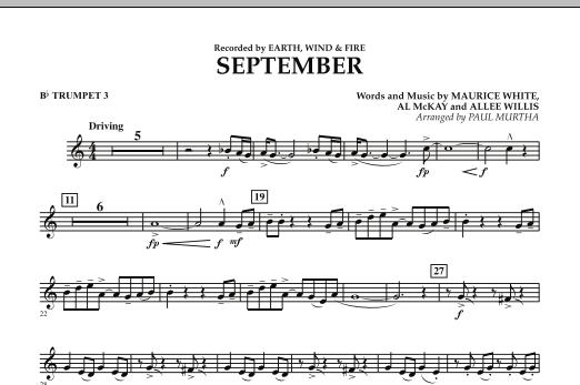 September (arr. Paul Murtha) - Bb Trumpet 3 (Concert Band)