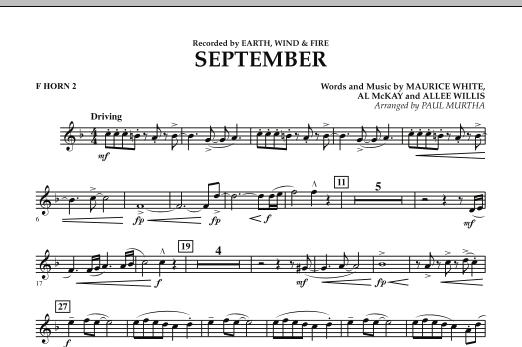 September (arr. Paul Murtha) - F Horn 2 (Concert Band)