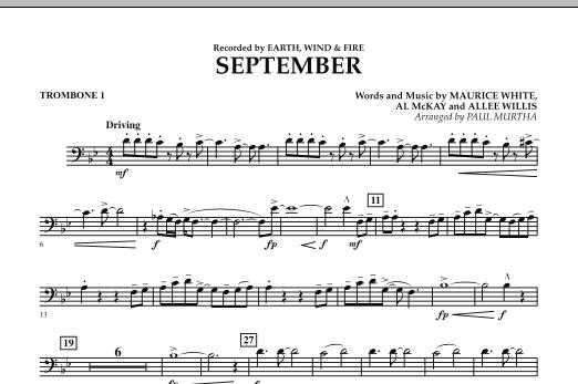 September (arr. Paul Murtha) - Trombone 1 (Concert Band)