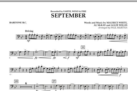 September (arr. Paul Murtha) - Baritone B.C. (Concert Band)