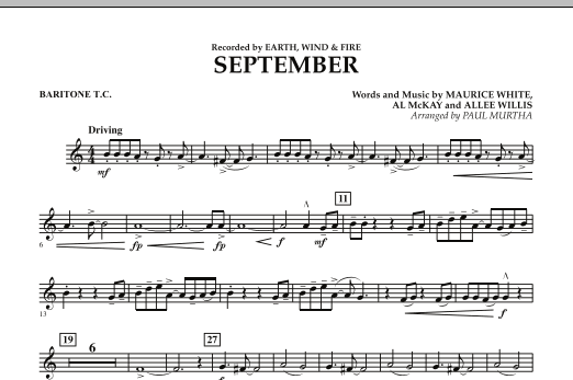 September (arr. Paul Murtha) - Baritone T.C. (Concert Band)